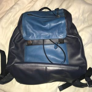 Navy/blue Leather Coach backpack